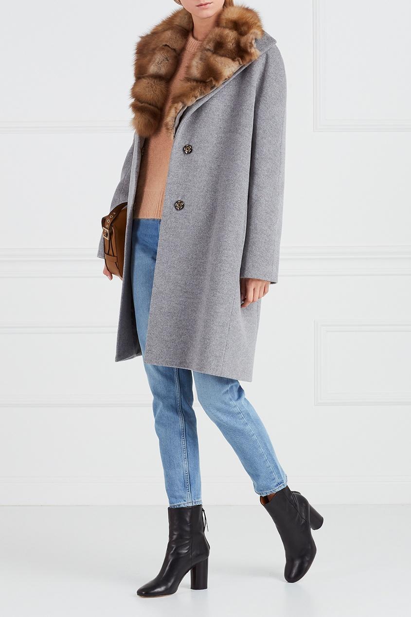 DREAMFUR Серое кашемировое пальто с мехом куницы dreamfur хомут из меха соболя