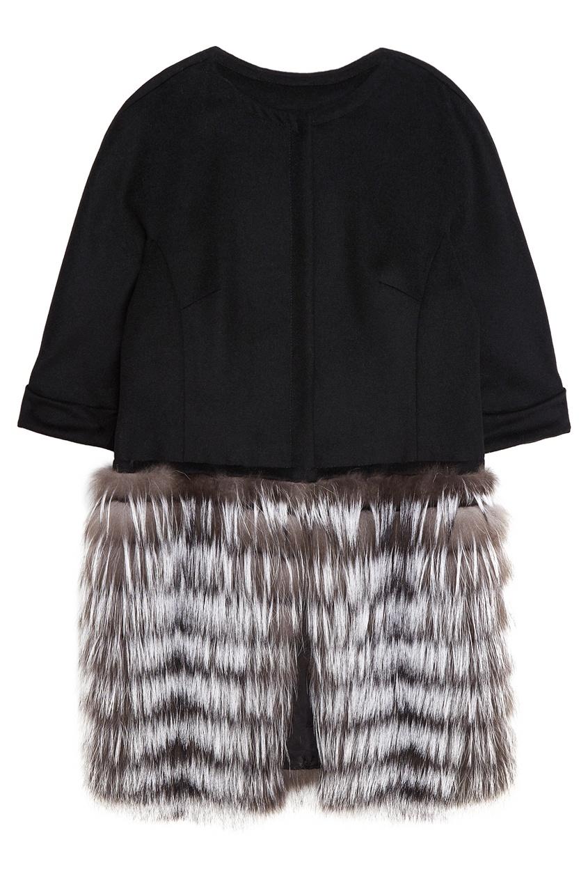 DREAMFUR Кашемировое пальто с мехом чернобурки