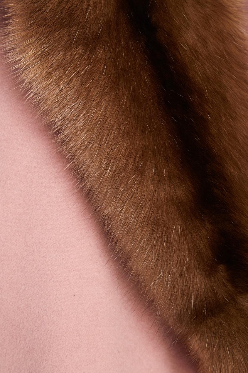 DREAMFUR Розовое пальто из кашемира с мехом соболя dreamfur хомут из меха соболя