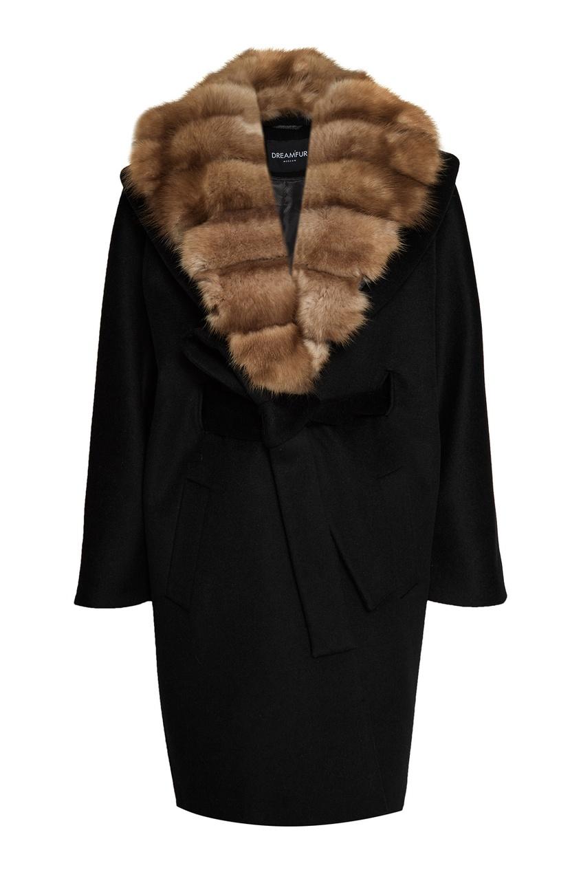 DREAMFUR Черное кашемировое пальто с мехом куницы