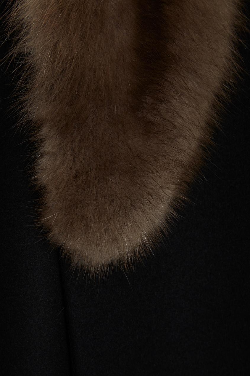DREAMFUR Черное кашемировое пальто-миди с мехом куницы dreamfur хомут из меха соболя