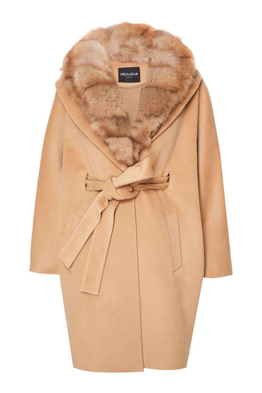 DREAMFUR Кашемировое пальто с мехом куницы