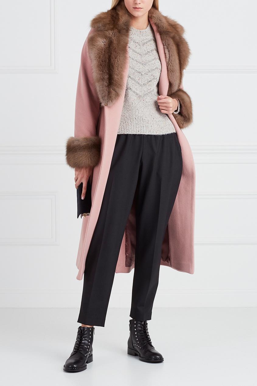 DREAMFUR Розовое кашемировое пальто с мехом куницы dreamfur хомут из меха соболя