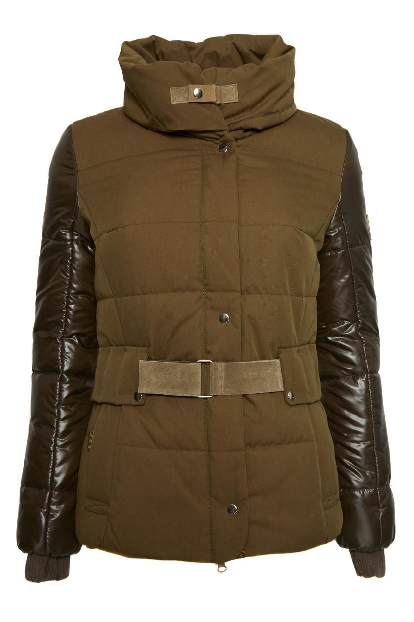 Стеганая куртка цвета хаки
