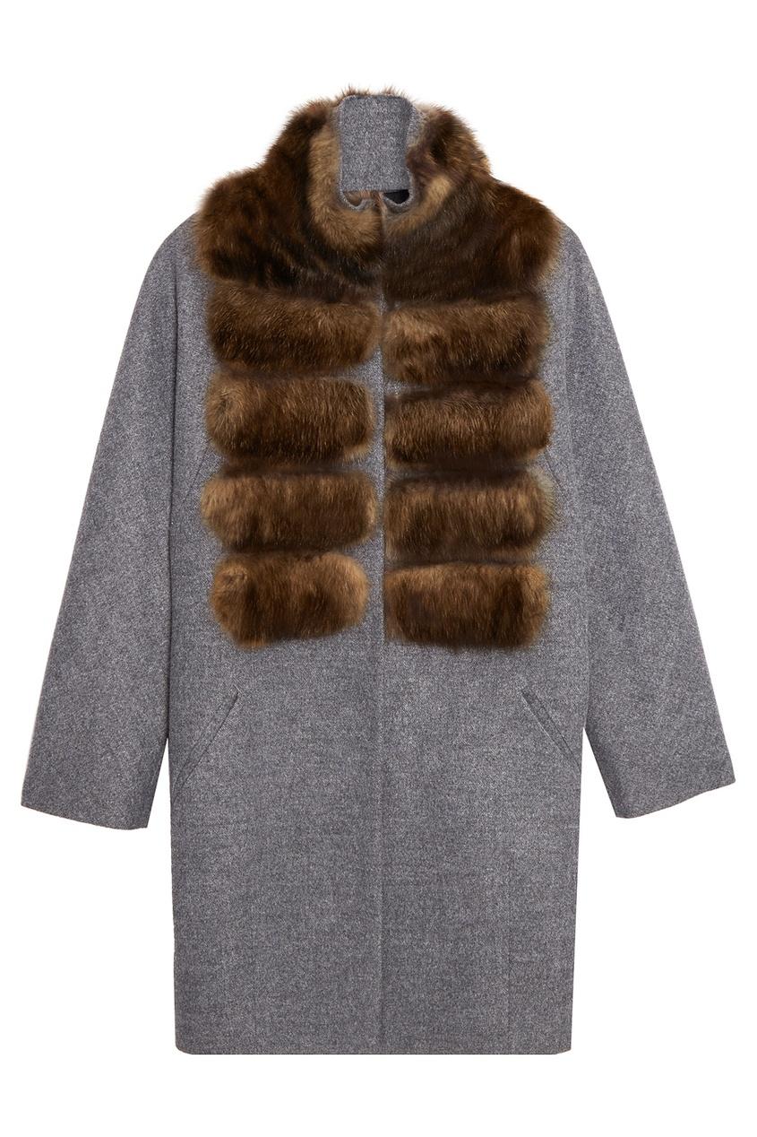 DREAMFUR Серое пальто-кокон из кашемира с мехом куницы