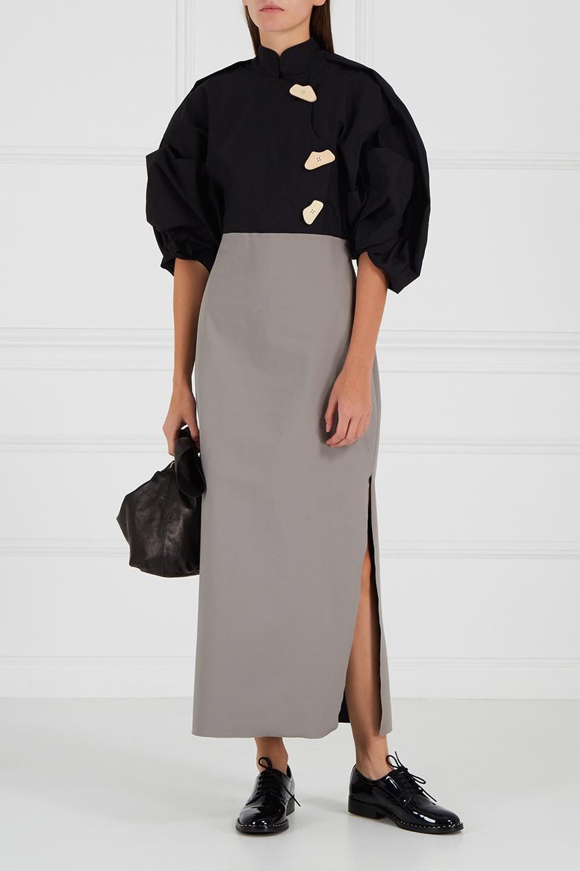 Комбинированное платье из хлопка