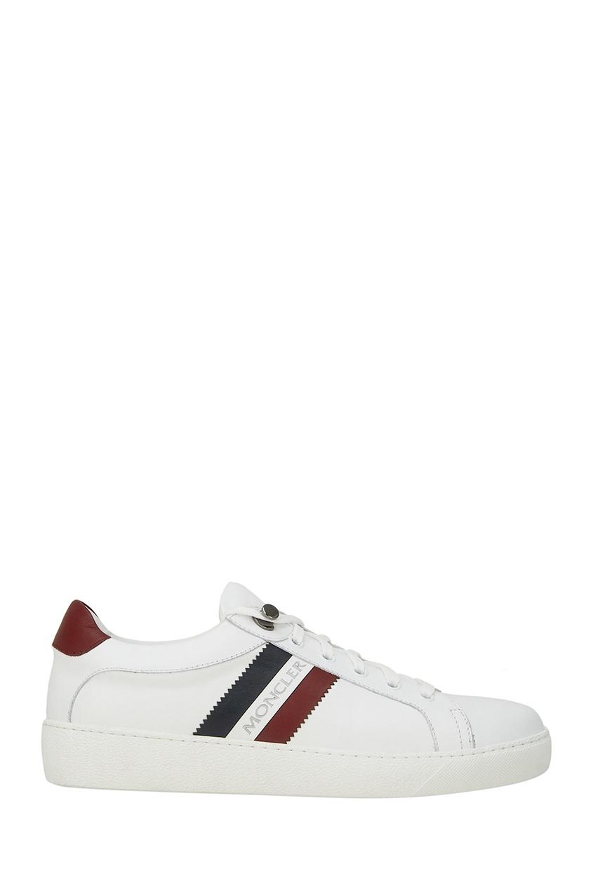 Moncler Белые кожаные кеды Leni moncler кожаные сандалии на плетеной подошве