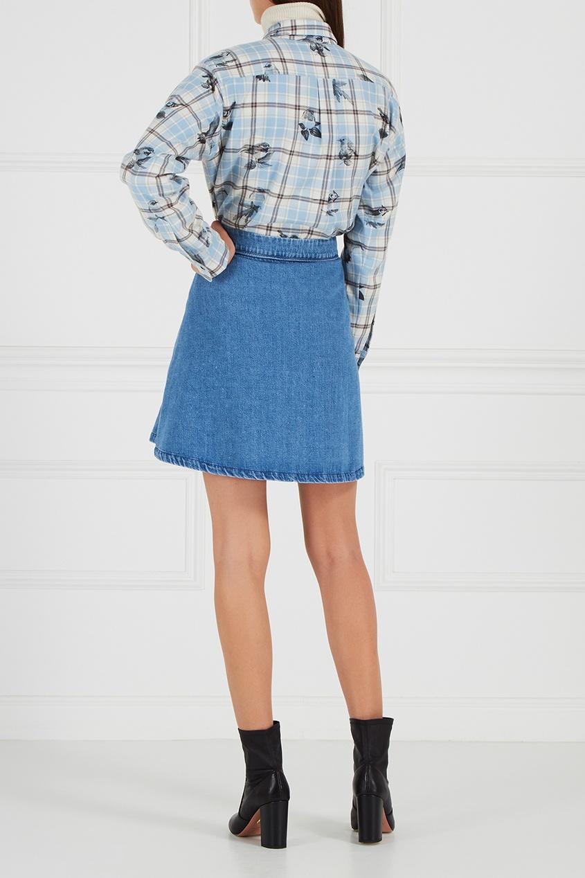 Джинсовая мини-юбка с рельефами