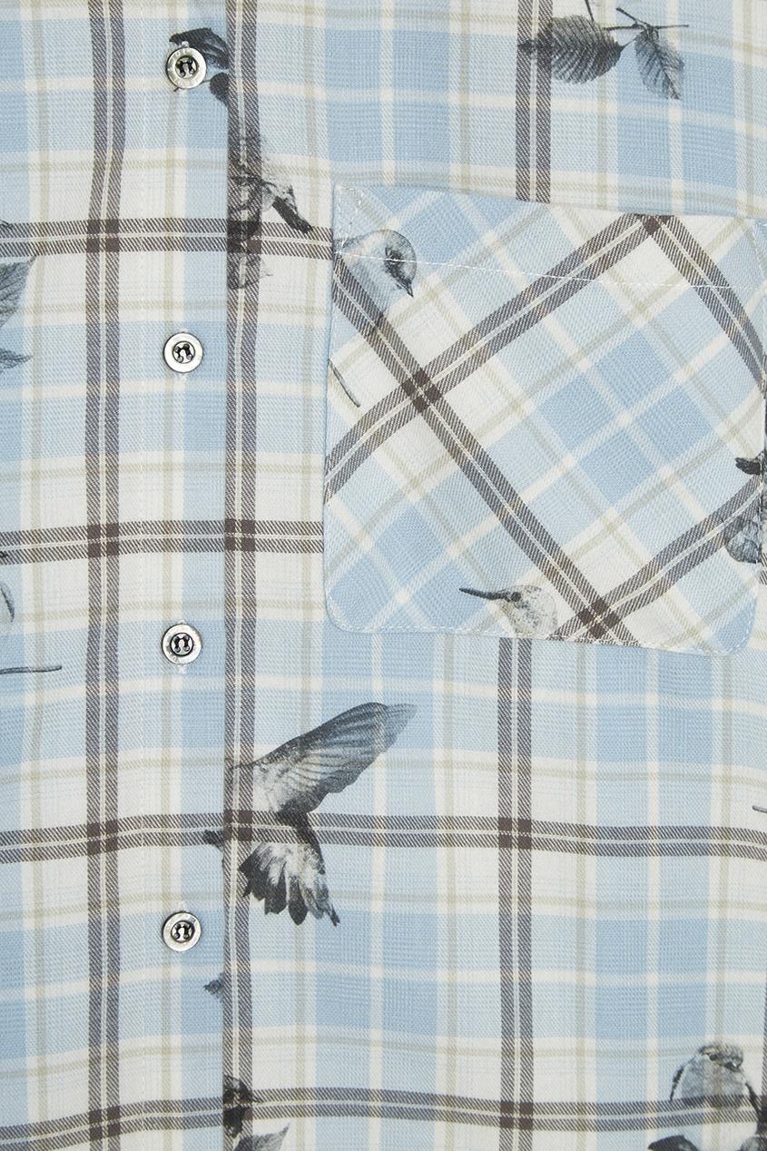 Хлопковая рубашка с комбинированным принтом
