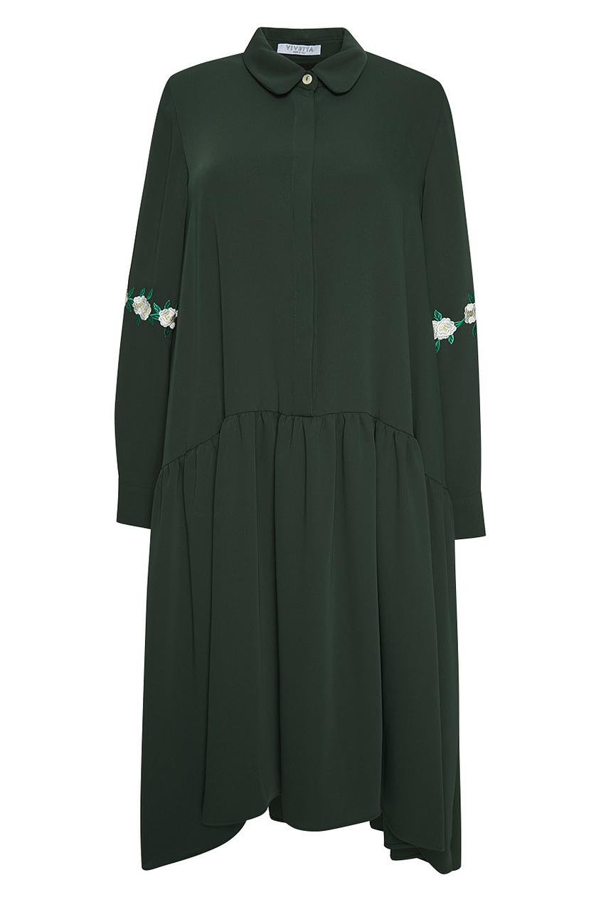 Vivetta Платье с вышивкой на рукавах Iwaki vivetta бархатное платье с нашивками