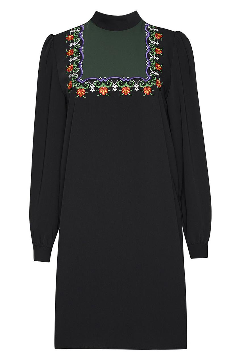 Vivetta Черное платье с вышивкой Lindo платье с вышивкой
