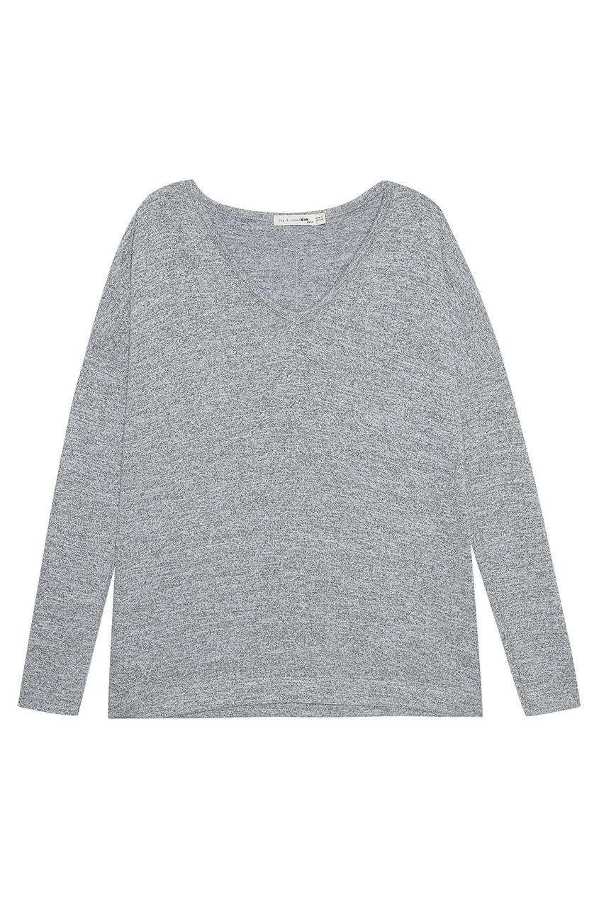 Серый меланжевый лонгслив