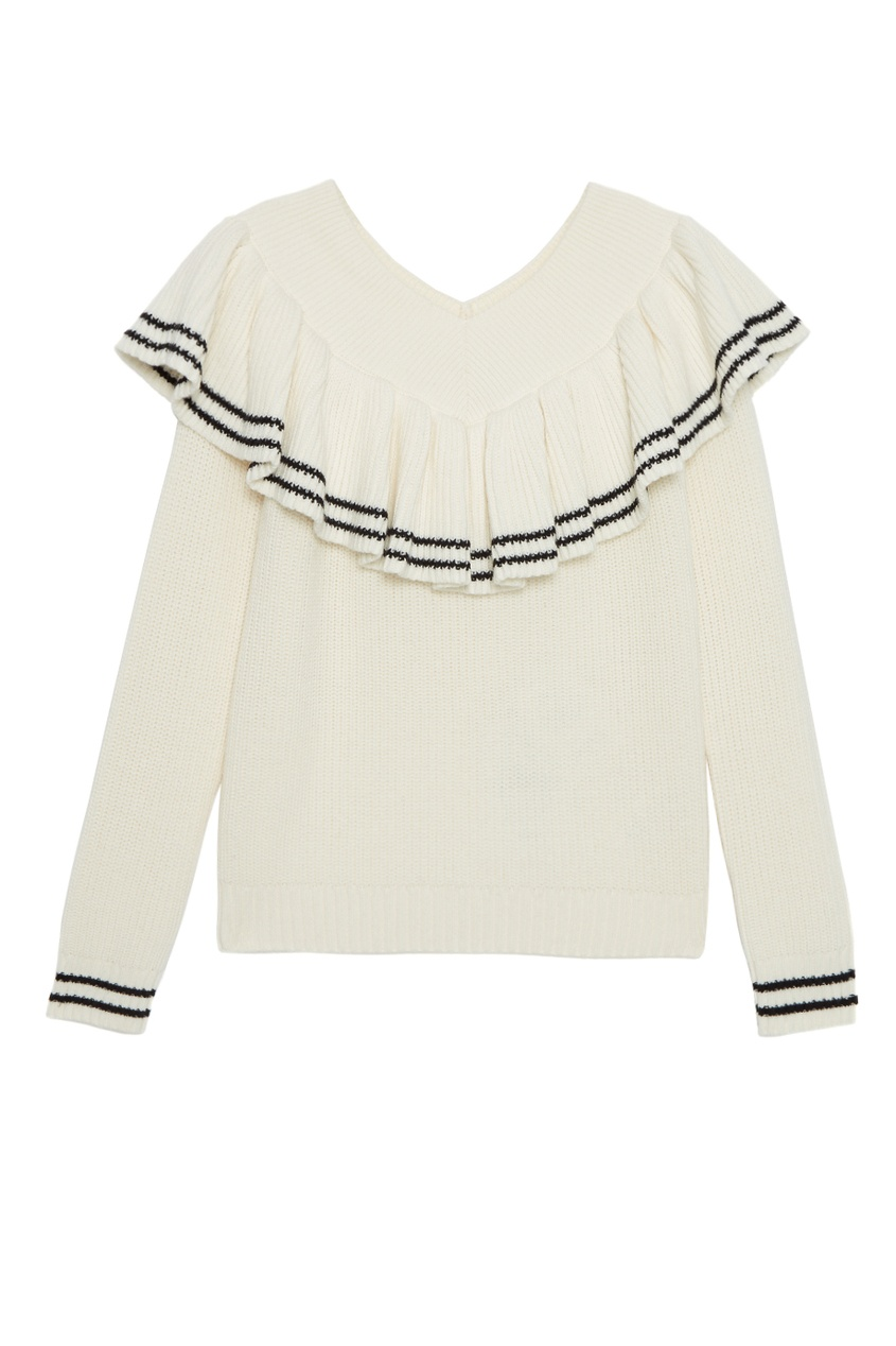 Пуловер из шерсти и хлопка с воланом