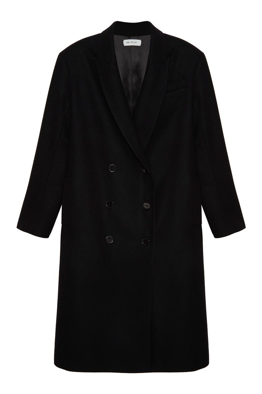ЛИ-ЛУ Двубортное шерстяное пальто пальто прямого покроя из шерстяного драпа