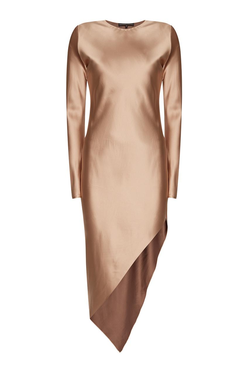 Атласное платье с асимметричным низом