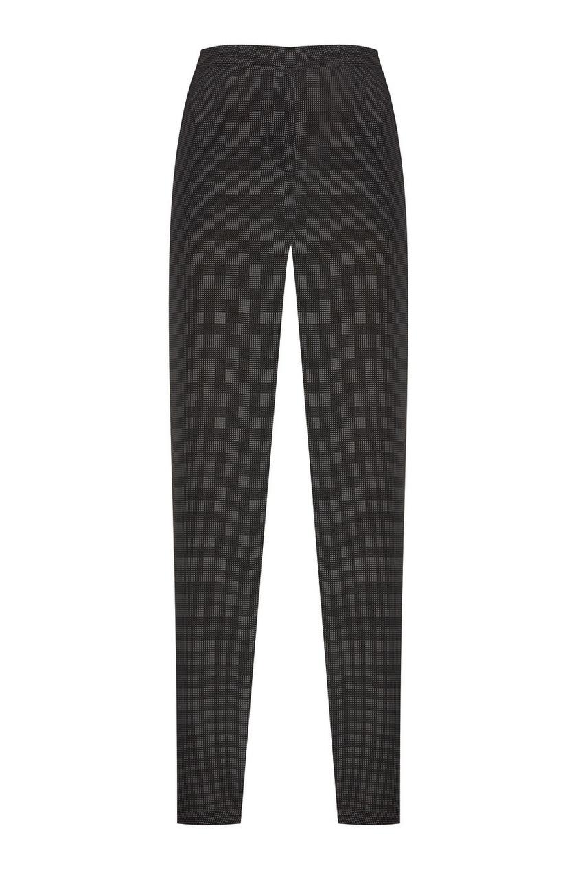 Шелковые брюки в горох коричневые