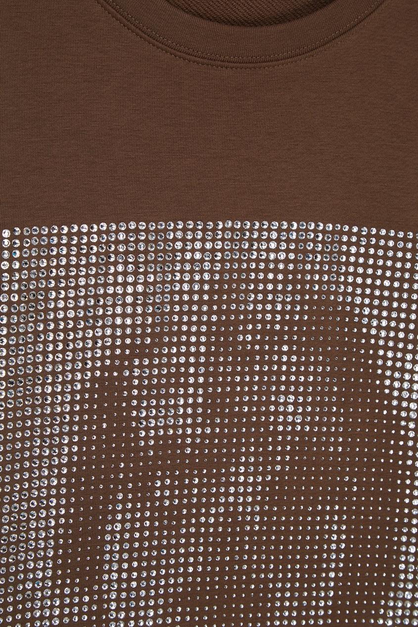 Свитшот цвета хаки с кристаллами