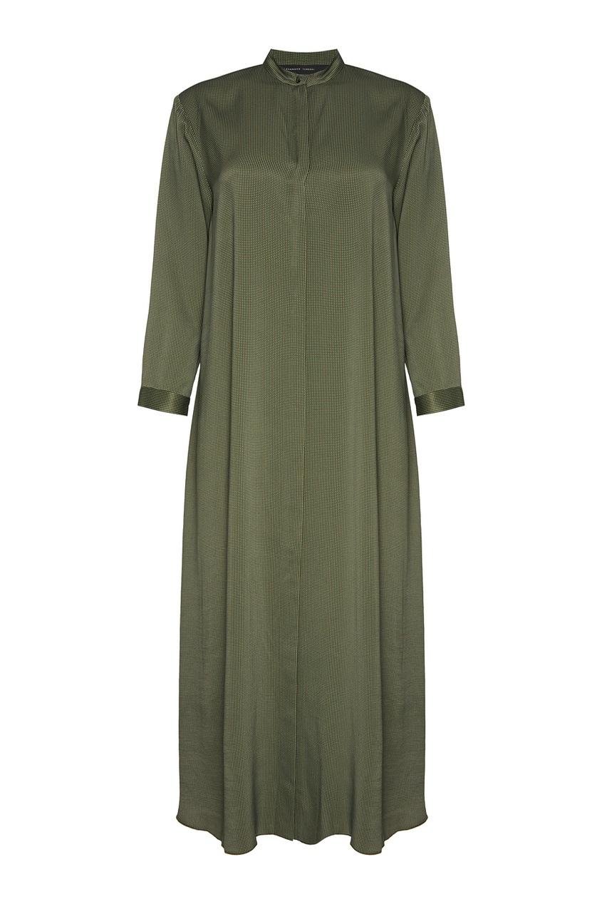 Длинное платье-рубашка в горох