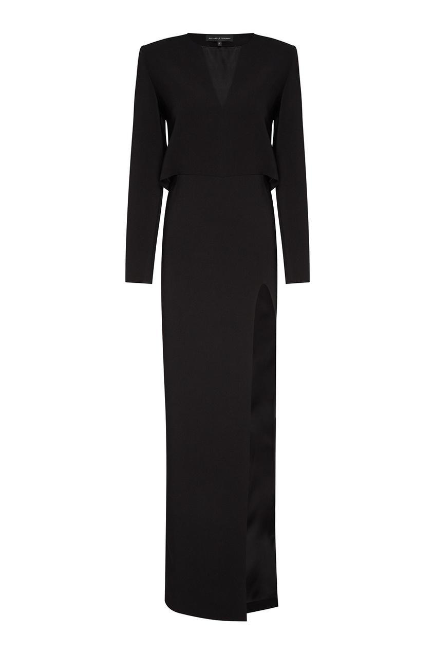 Alexander Terekhov Черное платье с разрезом платье черное с паетками 44