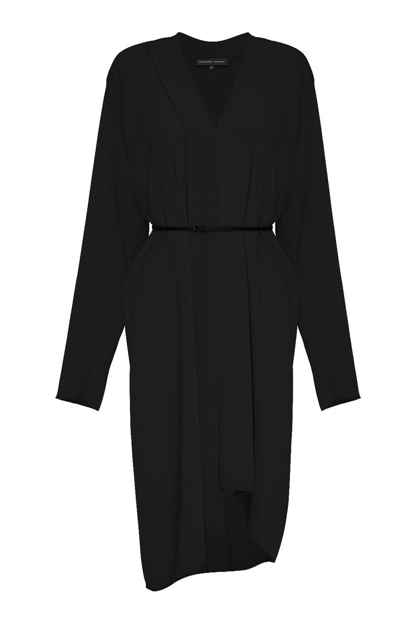 Alexander Terekhov Черное платье-миди с поясом платье черное с паетками 44
