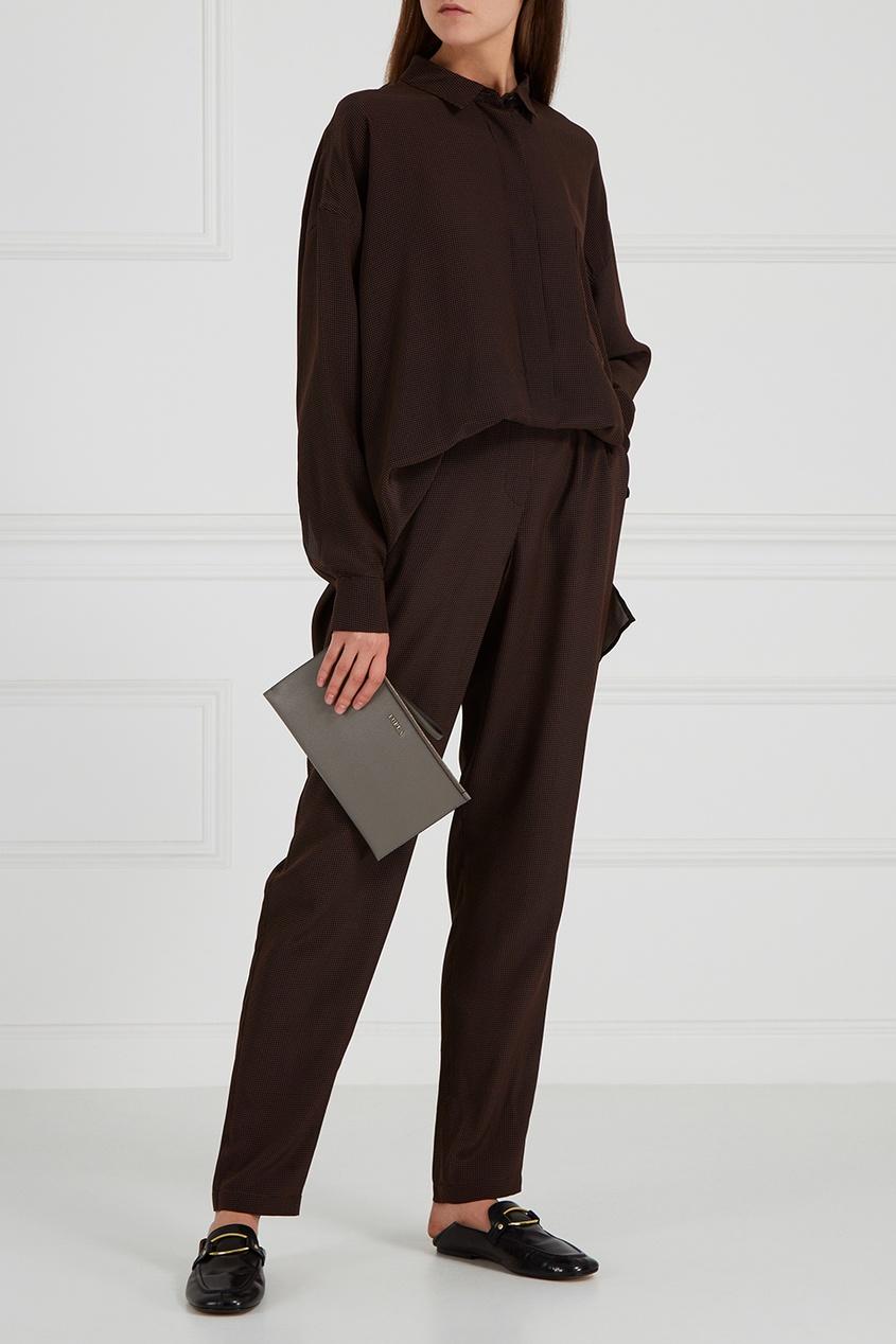 Коричневые брюки из шелка в горох