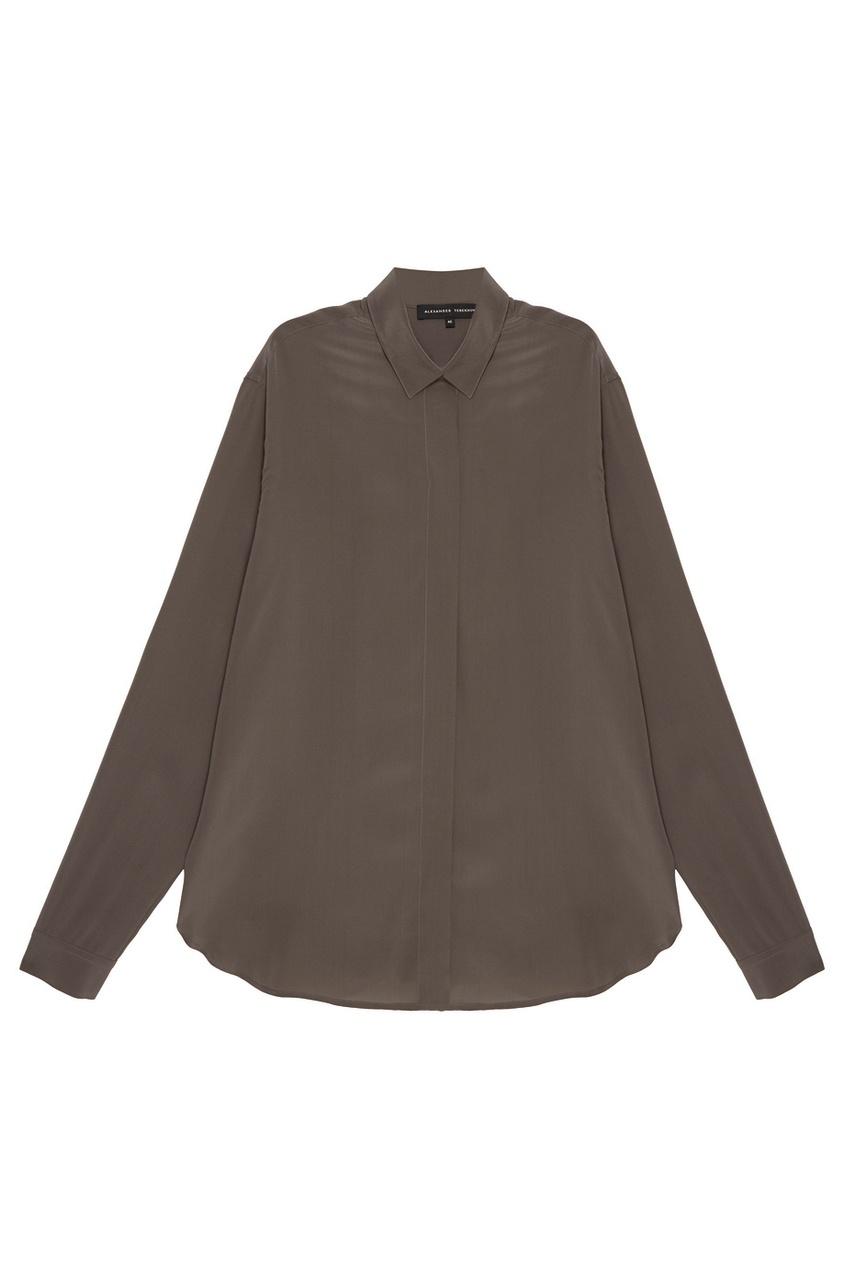Alexander Terekhov Шелковая блузка цвета хаки