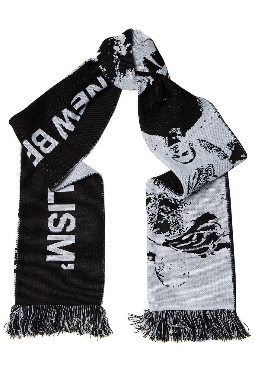 Черно-белый шарф с логотипом
