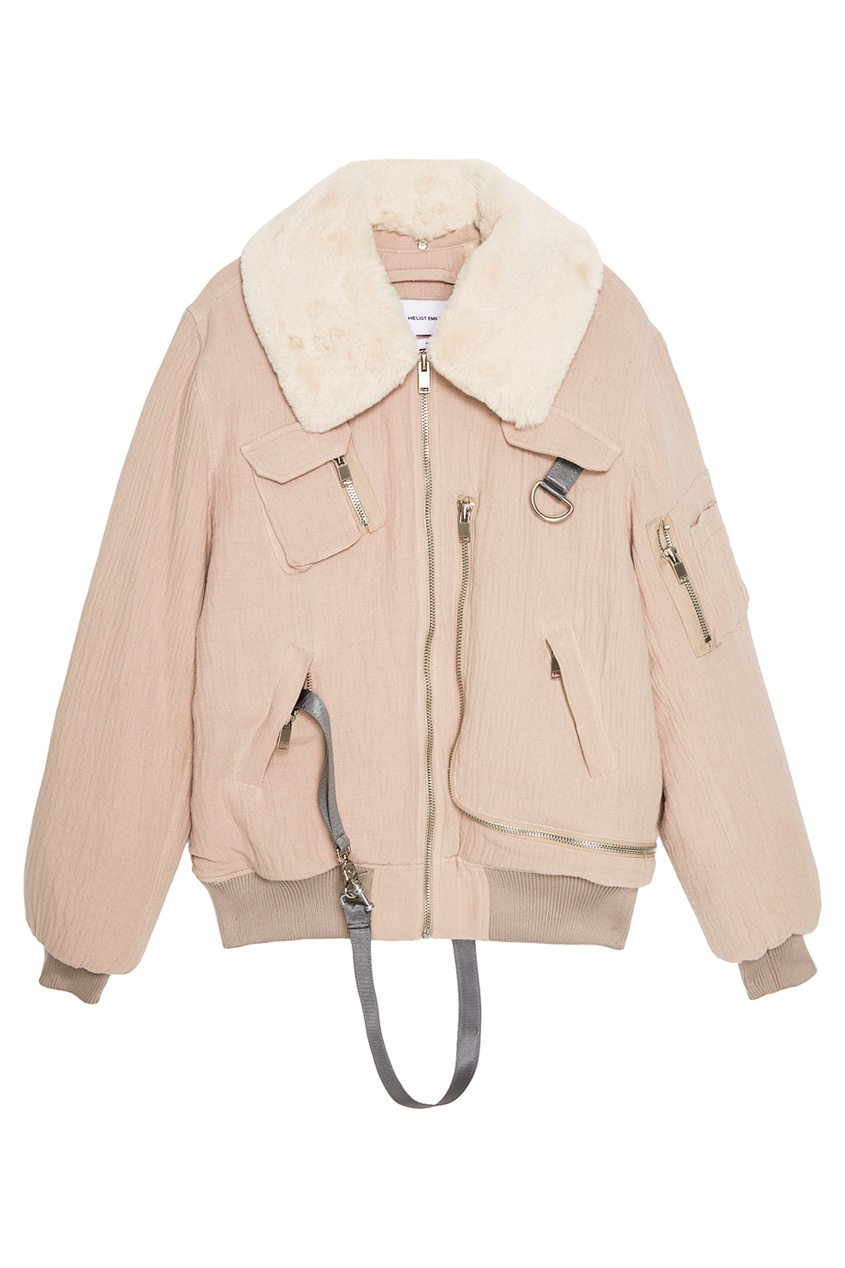 Куртка-бомбер из хлопка с мехом