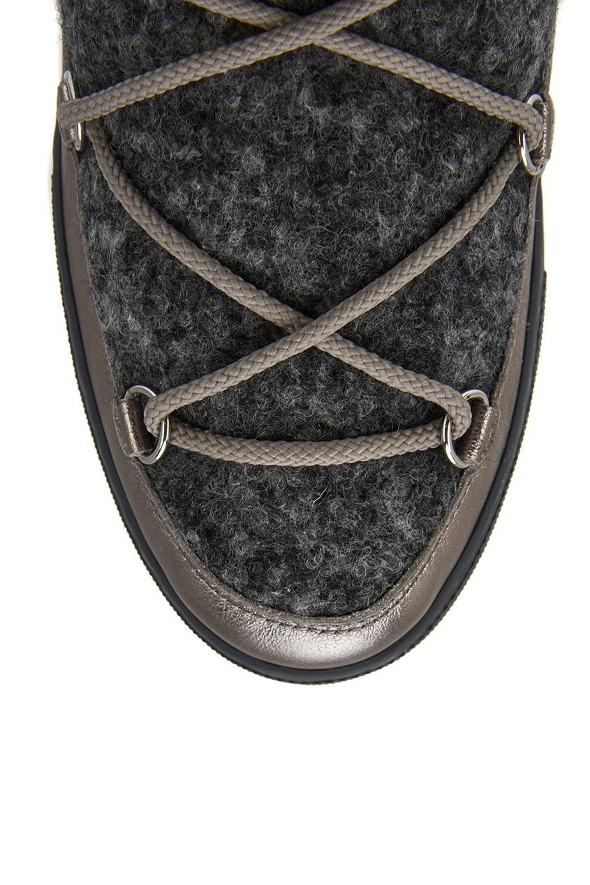 Moncler Ботинки-луноходы из шерсти и кожи Ynaff