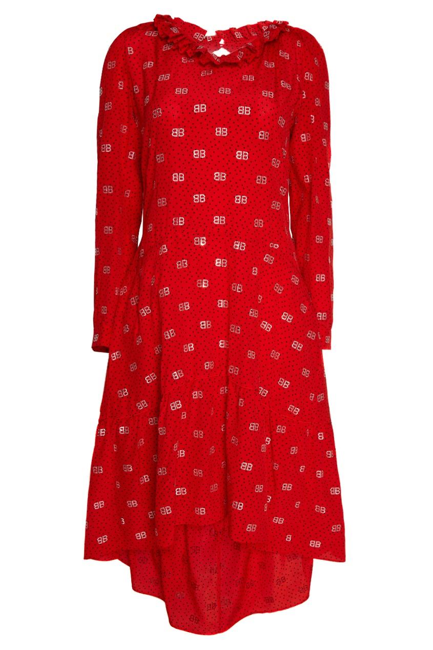цена на Balenciaga Шелковое платье с монограммами
