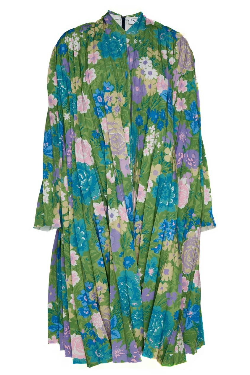 Balenciaga Плиссированное платье с цветочным принтом платье с цветочным принтом