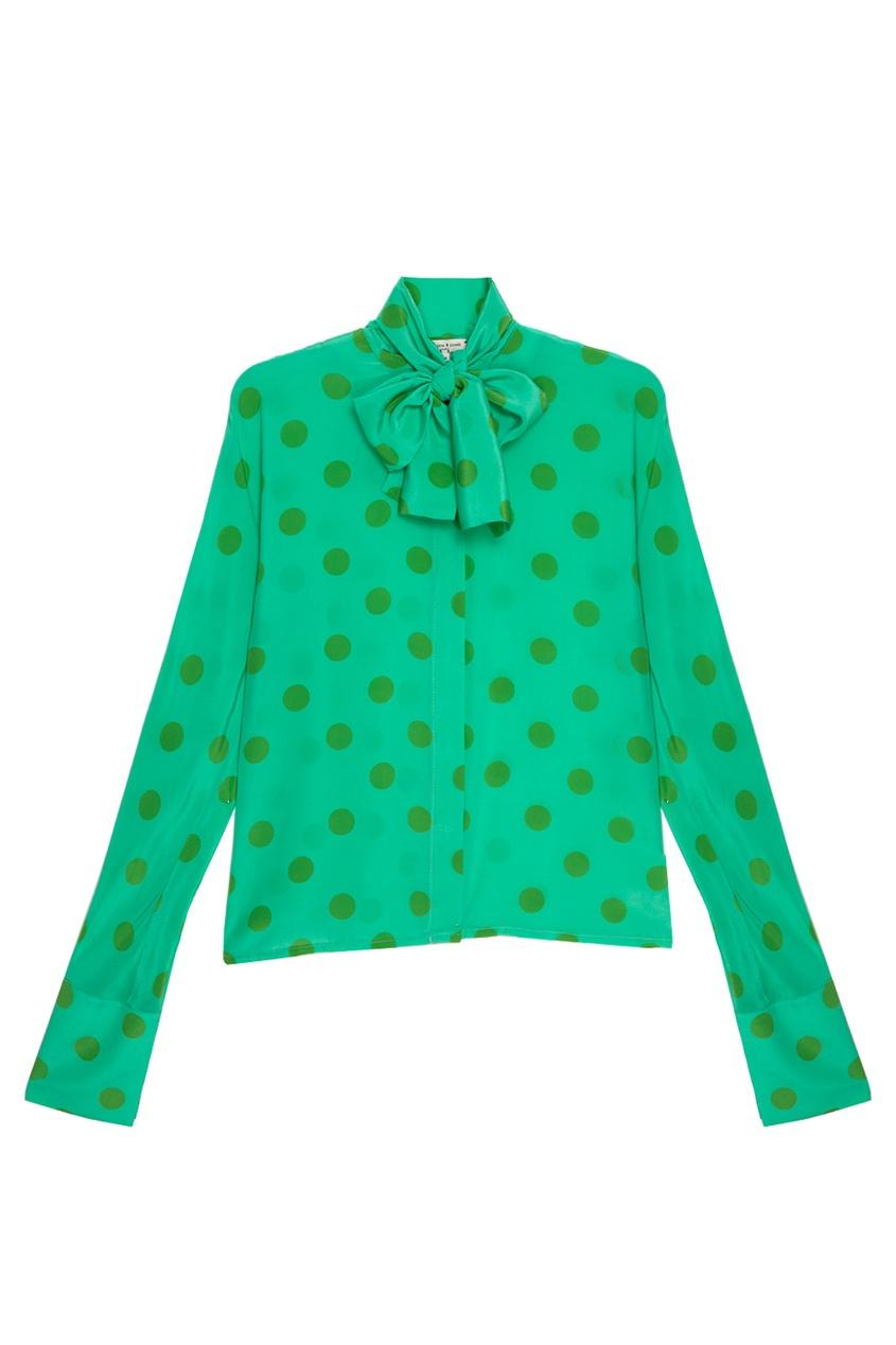 Шелковая блузка в горох
