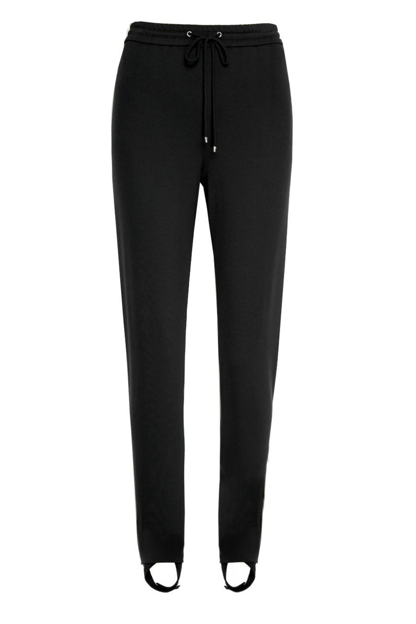 Theory Черные брюки со штрипками theory брюки палаццо из хлопка