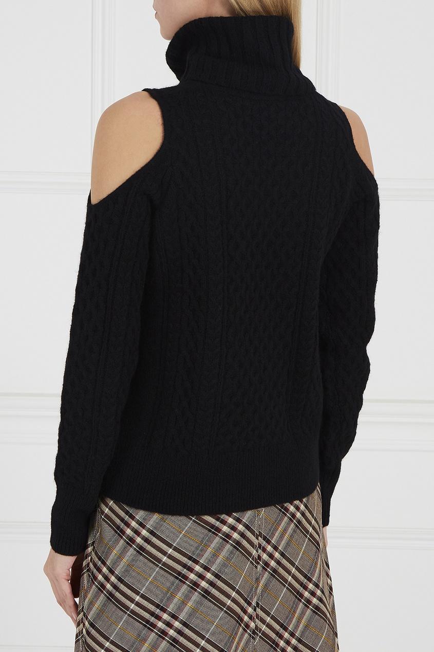 Шерстяной свитер с вырезами на плечах