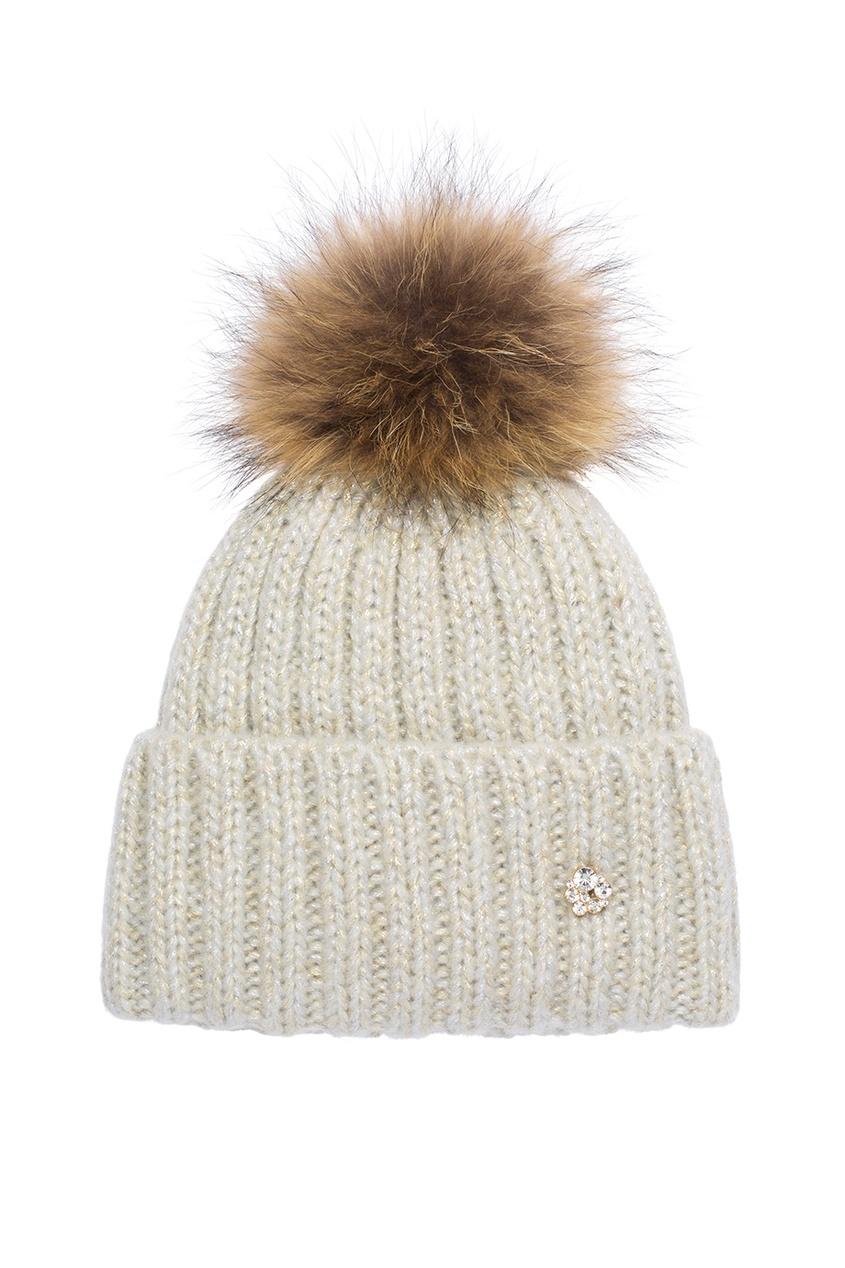 Бежевая шапка-бини с помпоном
