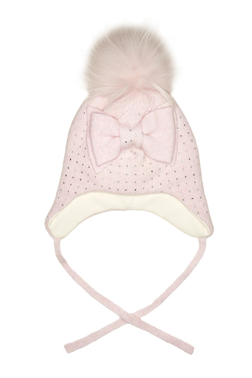 Розовая шапка из шерсти и кашемира от Junior Republic