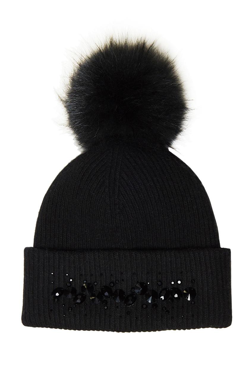 Черная шапка-бини с кристаллами