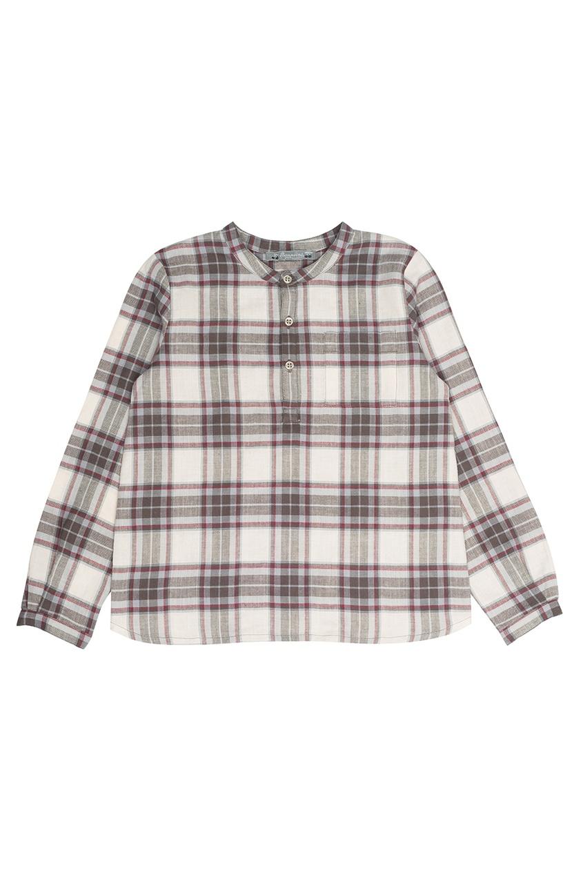 Bonpoint Рубашка в коричневую клетку Artiste