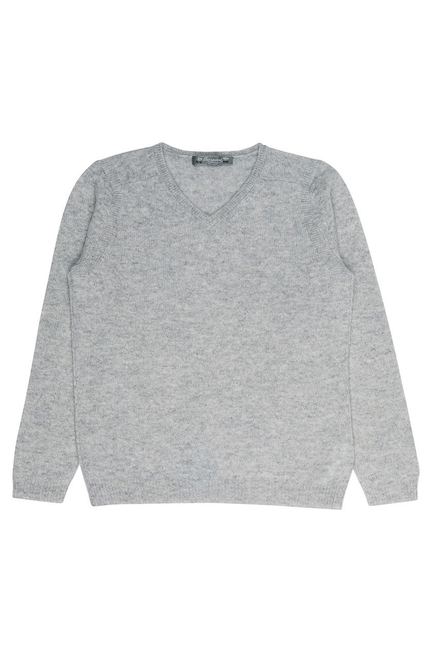 Кашемировый серый пуловер