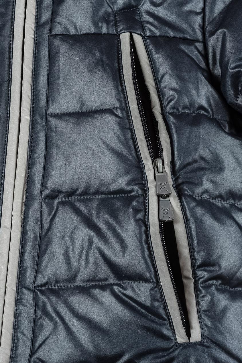 Junior Republic Темно-синий пуховик с мехом на капюшоне junior republic junior republic блузка трикотажная белая