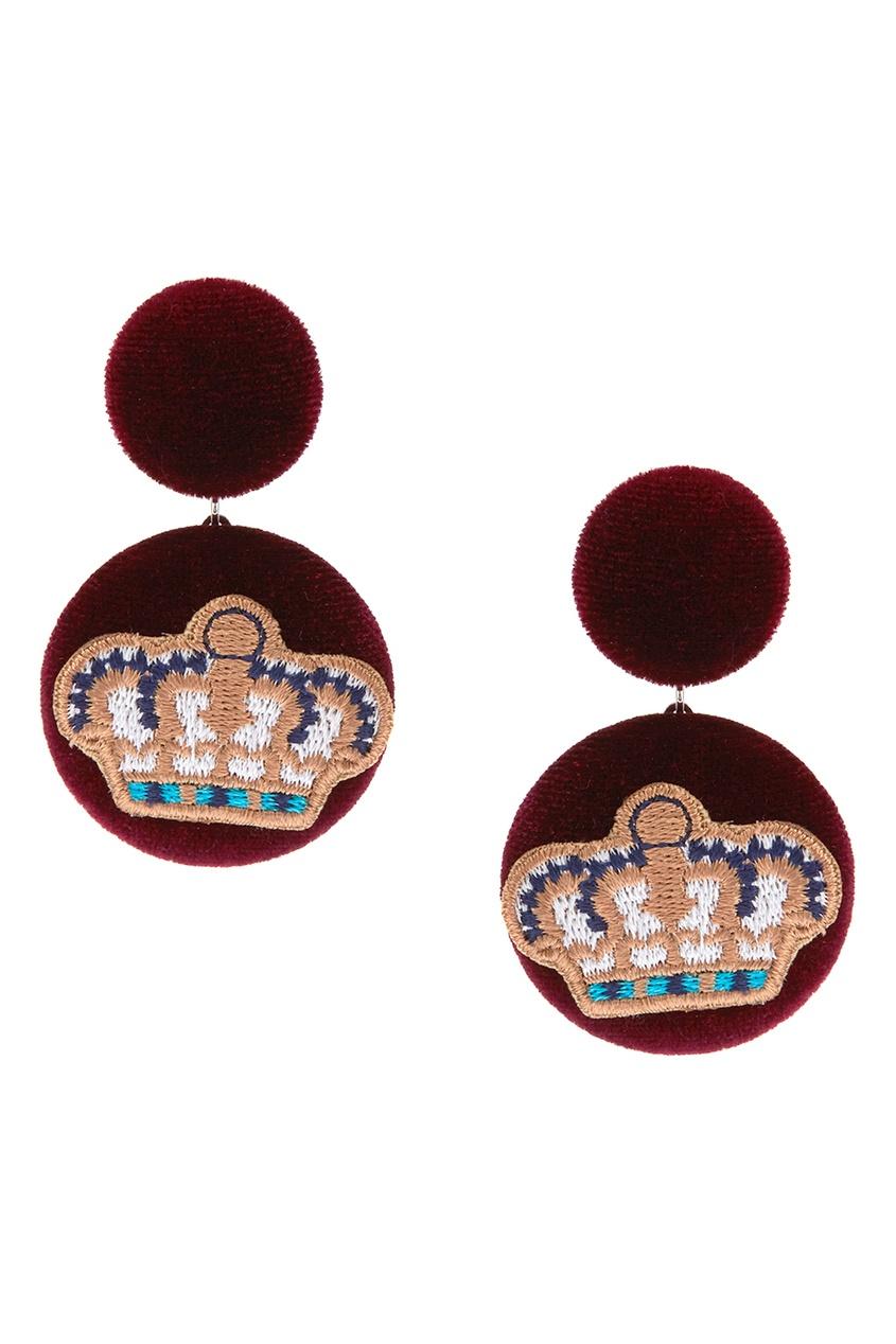 Lisa Smith Бордовые бархатные серьги с нашивками с какой застежкой купить серьги