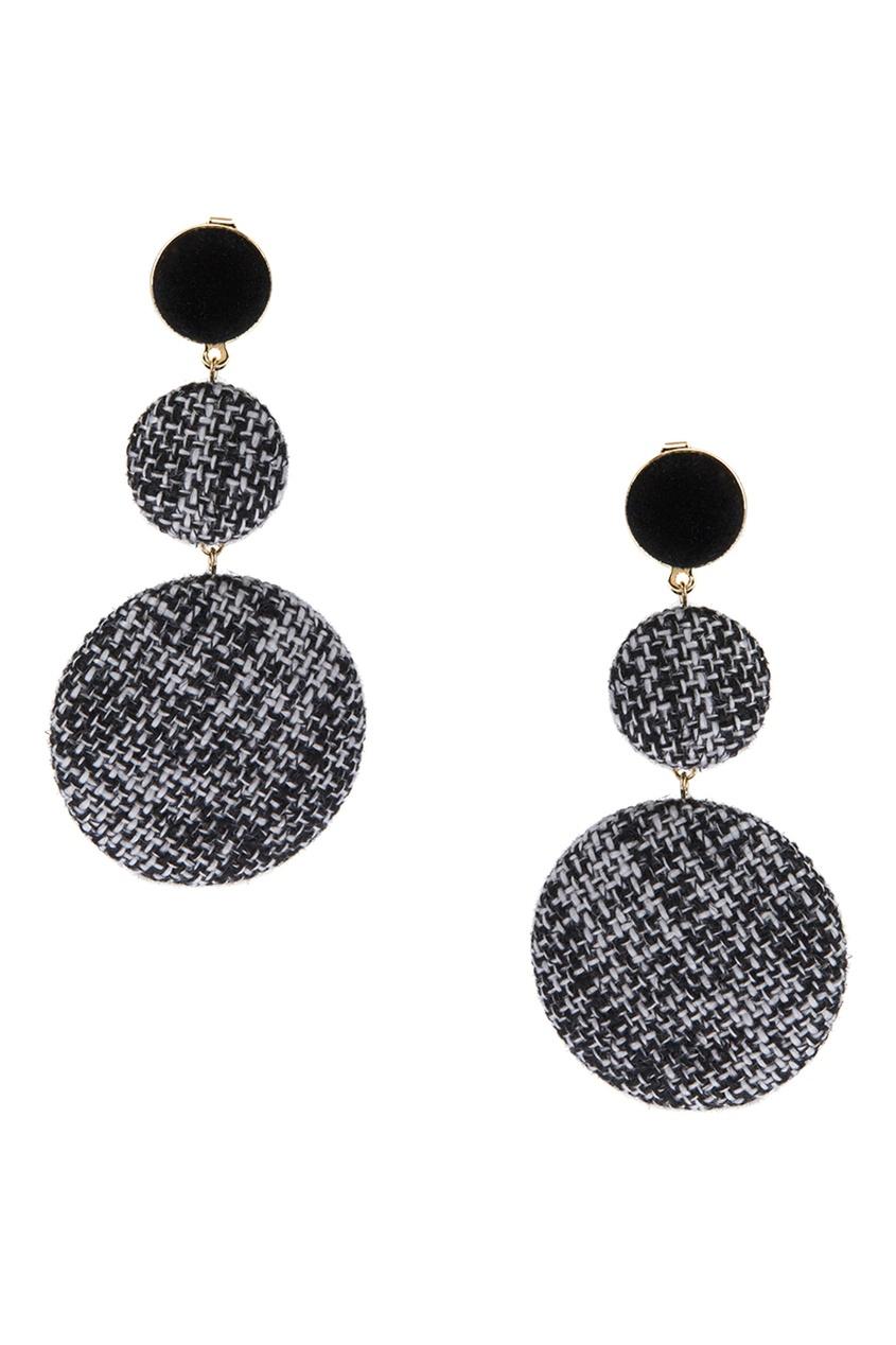 Lisa Smith Черно-белые серьги с текстильной отделкой