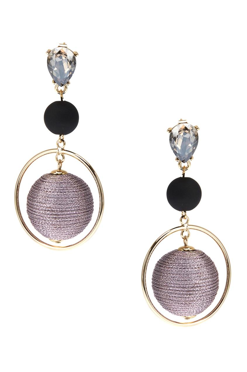 Комбинированные серьги с розовыми шарами Lisa Smith. Цвет: светло-лиловый/черный/прозрачный/золотой