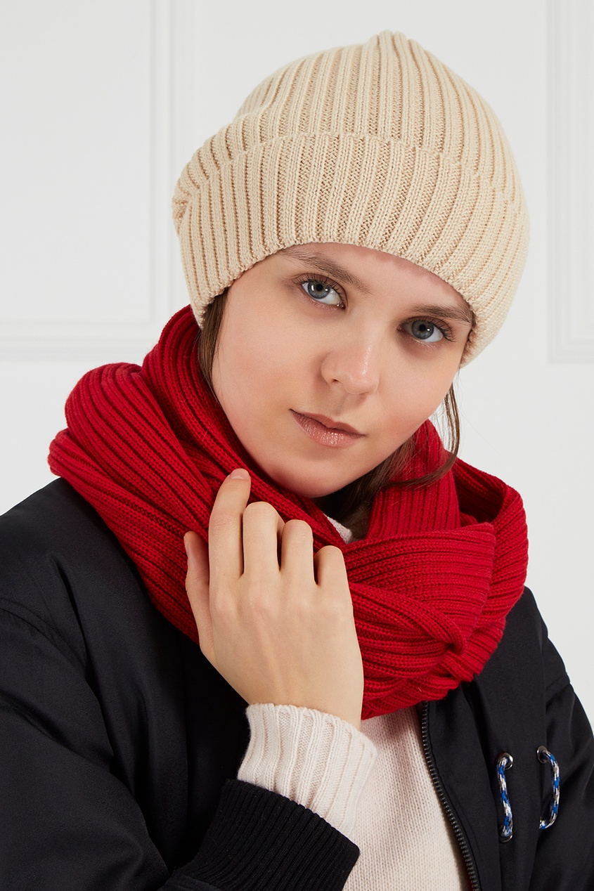 Красный шарф-снуд из полушерсти