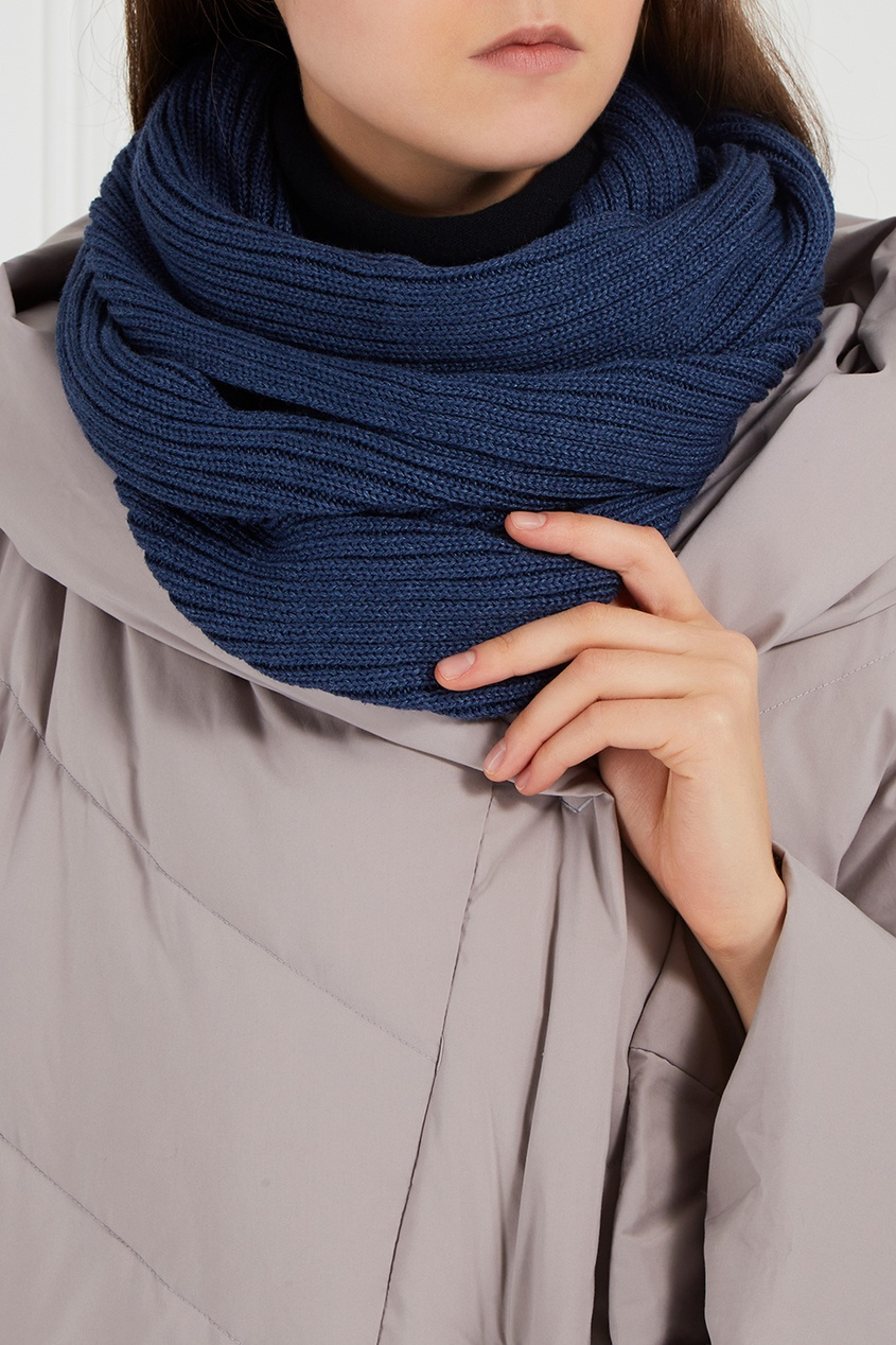 Синий шарф-снуд из полушерсти