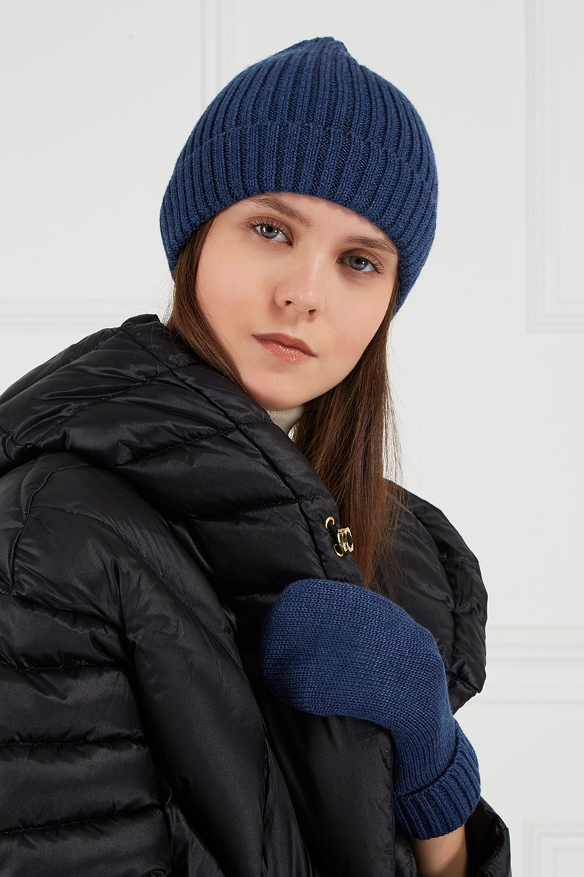 BLANK.MOSCOW Синяя шапка из шерстяного микса пальто из шерстяного драпа 70