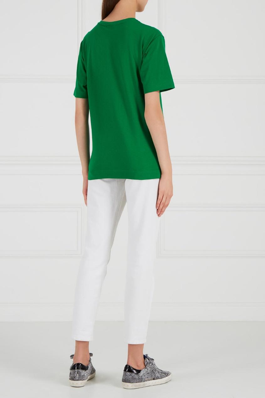 Зеленая футболка из хлопка