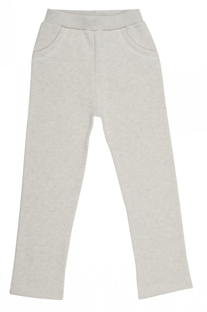 Хлопковые брюки светло-серые