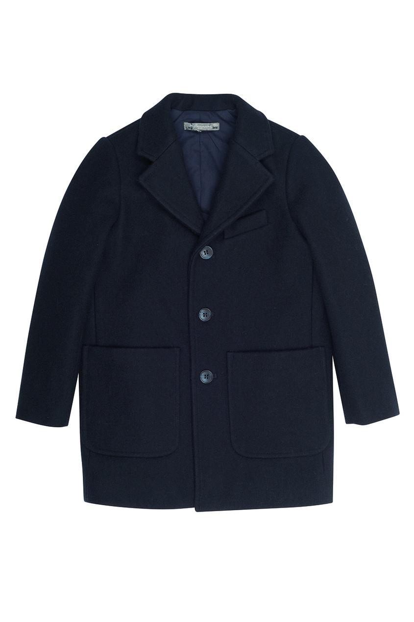 Bonpoint Пальто синее шерстяное Dickens
