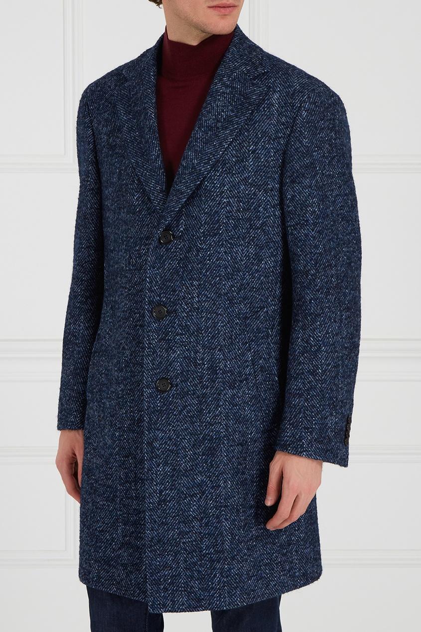 Canali Синее шерстяное пальто canali пальто с контрастным узором